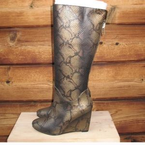 NWB  Snake Print Leather wedge Boots